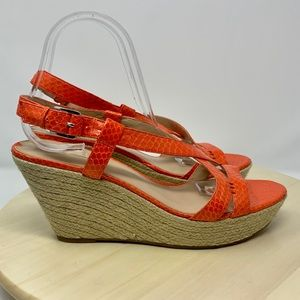 Via Spiga Wendy snakeskin wedge sandal orange 9.5